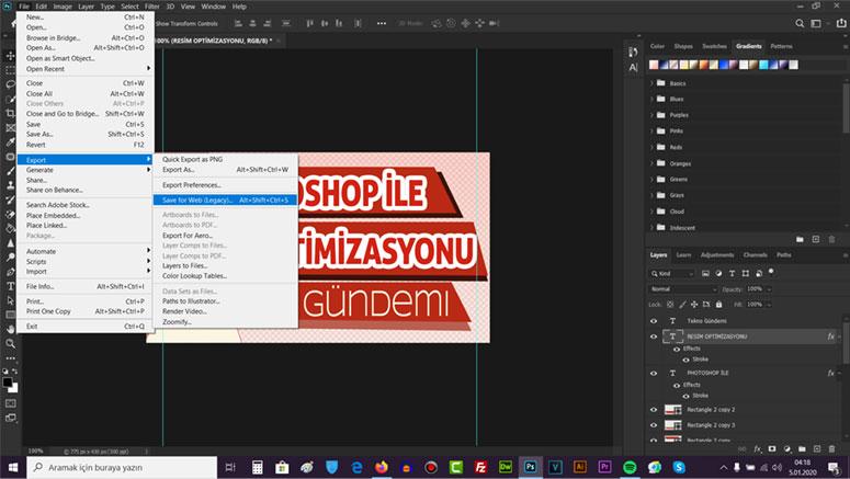 Photoshop ile resmi sıkıştırma, Photoshop İle Resmi Optimize Etme